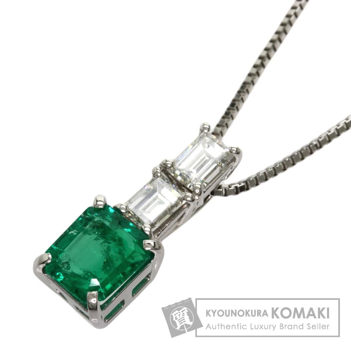 1.8ct エメラルド ダイヤモンド ネックレス プラチナPT900/PT850 7.3g レディース 【中古】