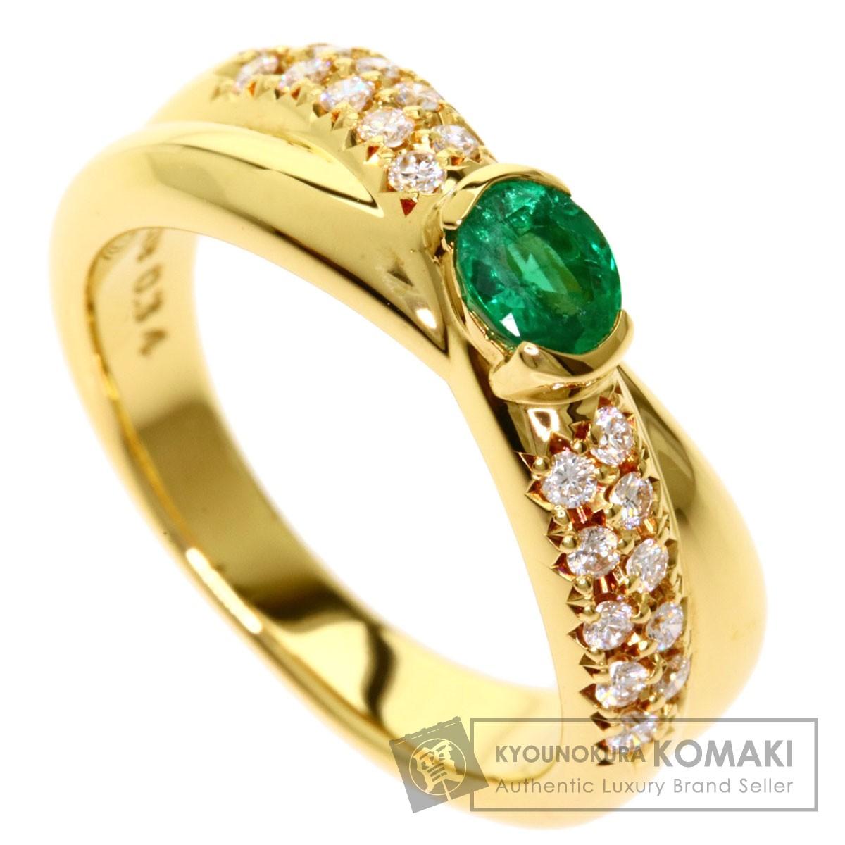 タサキ エメラルド ダイヤモンド リング・指輪 K18イエローゴールド レディース 【中古】【TASAKI】
