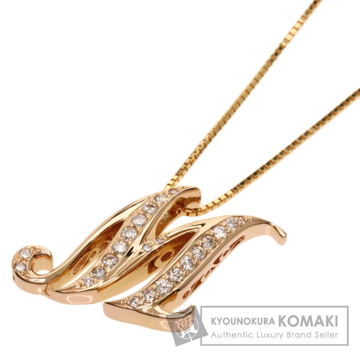0.4ct ダイヤモンド イニシャル M ネックレス K18ピンクゴールド/K18YG 8.5g レディース 【中古】