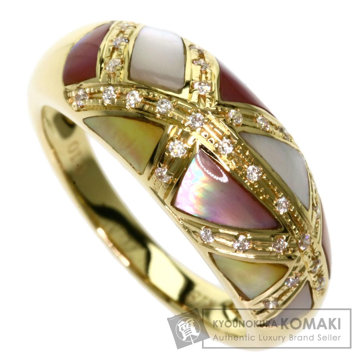 0.1ct ホワイトシェル ピンクシェル ダイヤモンド リング・指輪 K18イエローゴールド 4.4g レディース 【中古】