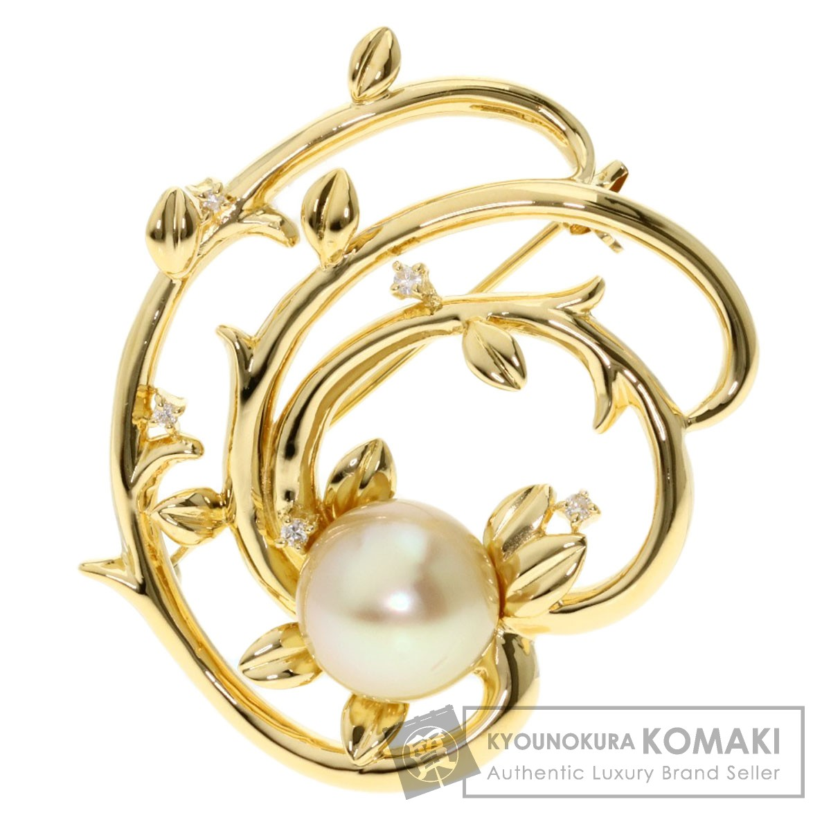 タサキ パール 真珠 ダイヤモンド ブローチ K18イエローゴールド レディース 【中古】【TASAKI】