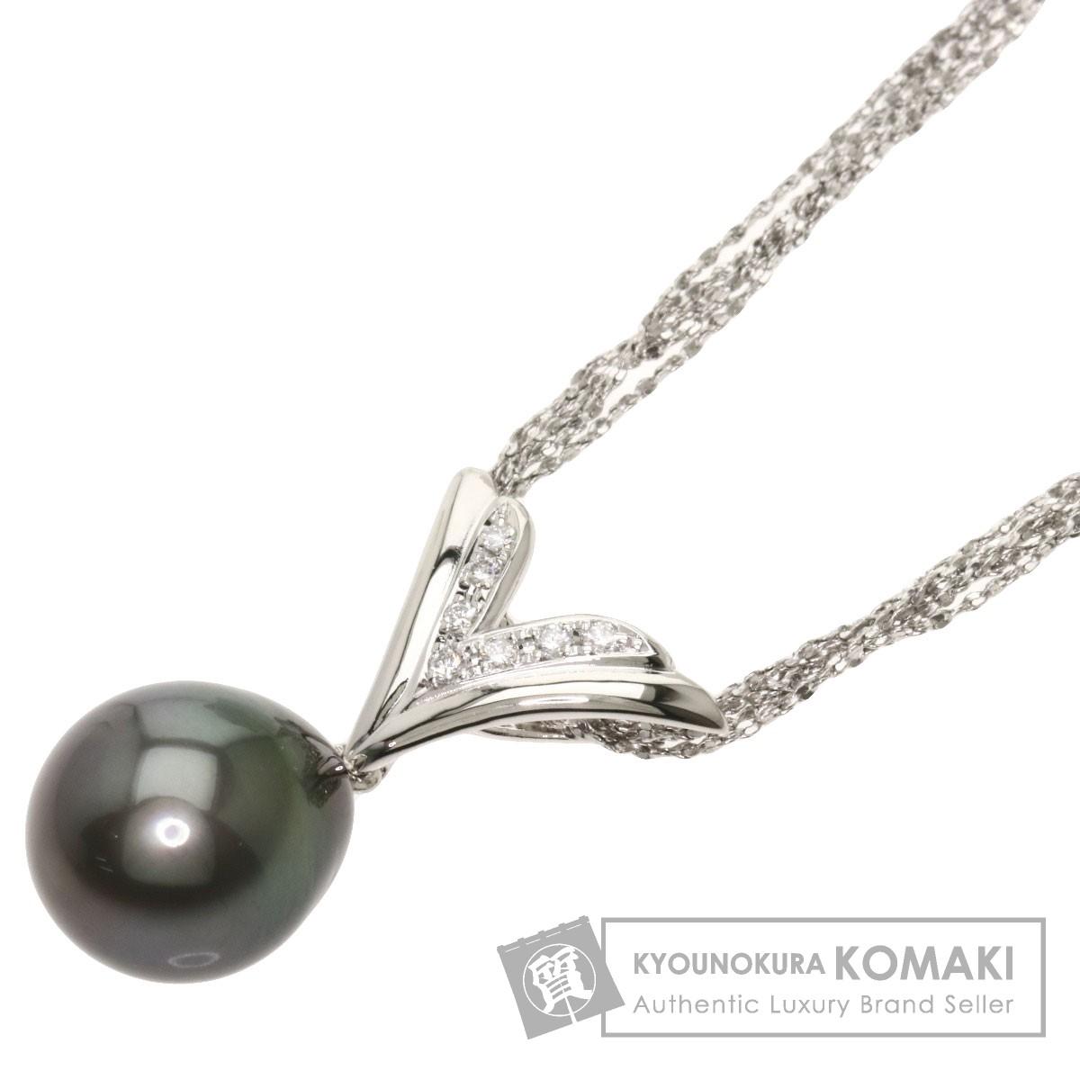 タサキ 黒パール 真珠 ダイヤモンド ネックレス プラチナPT850/PT900 レディース 【中古】【TASAKI】