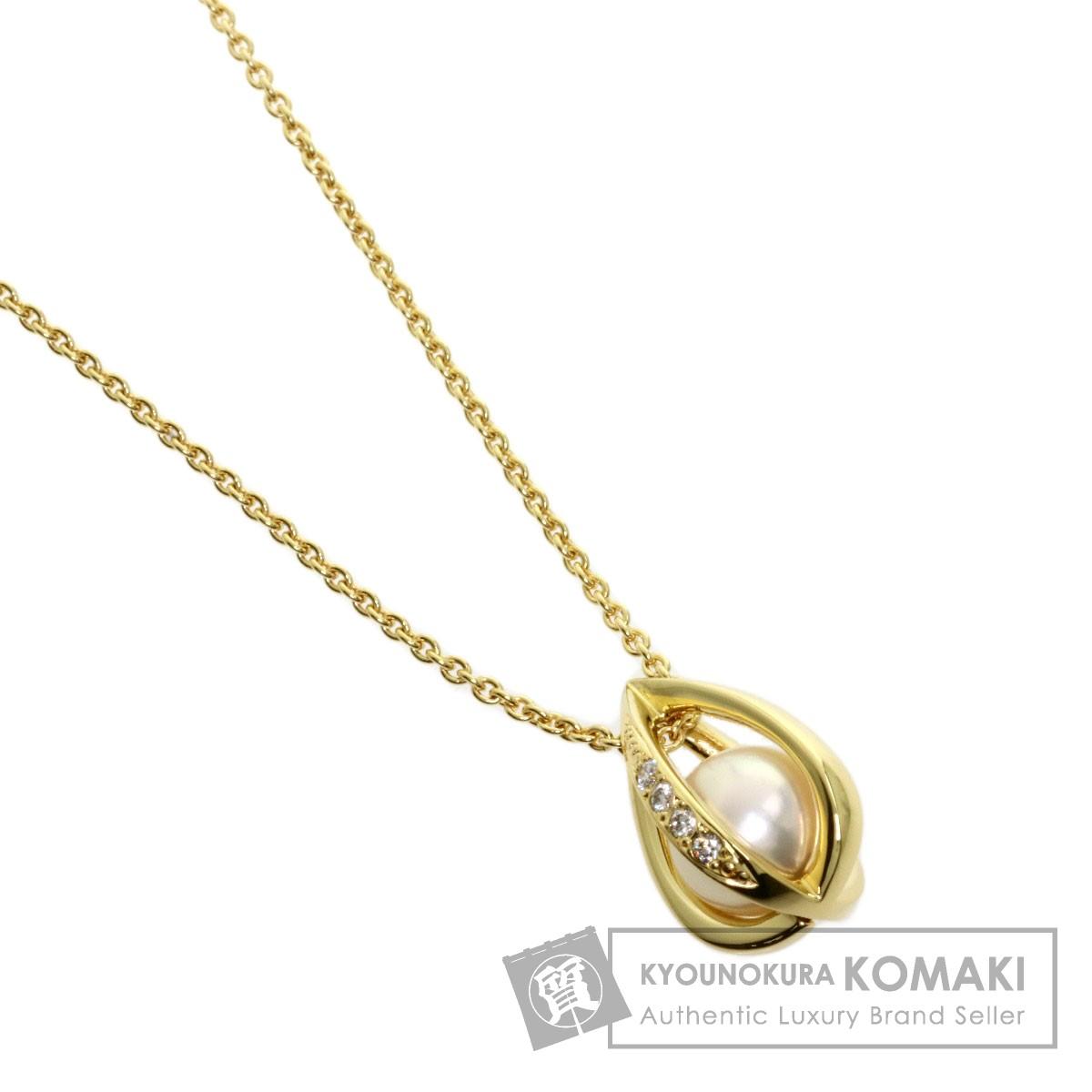 ミキモト アコヤパール 真珠 ダイヤモンド ネックレス K18イエローゴールド レディース 【中古】【MIKIMOTO】