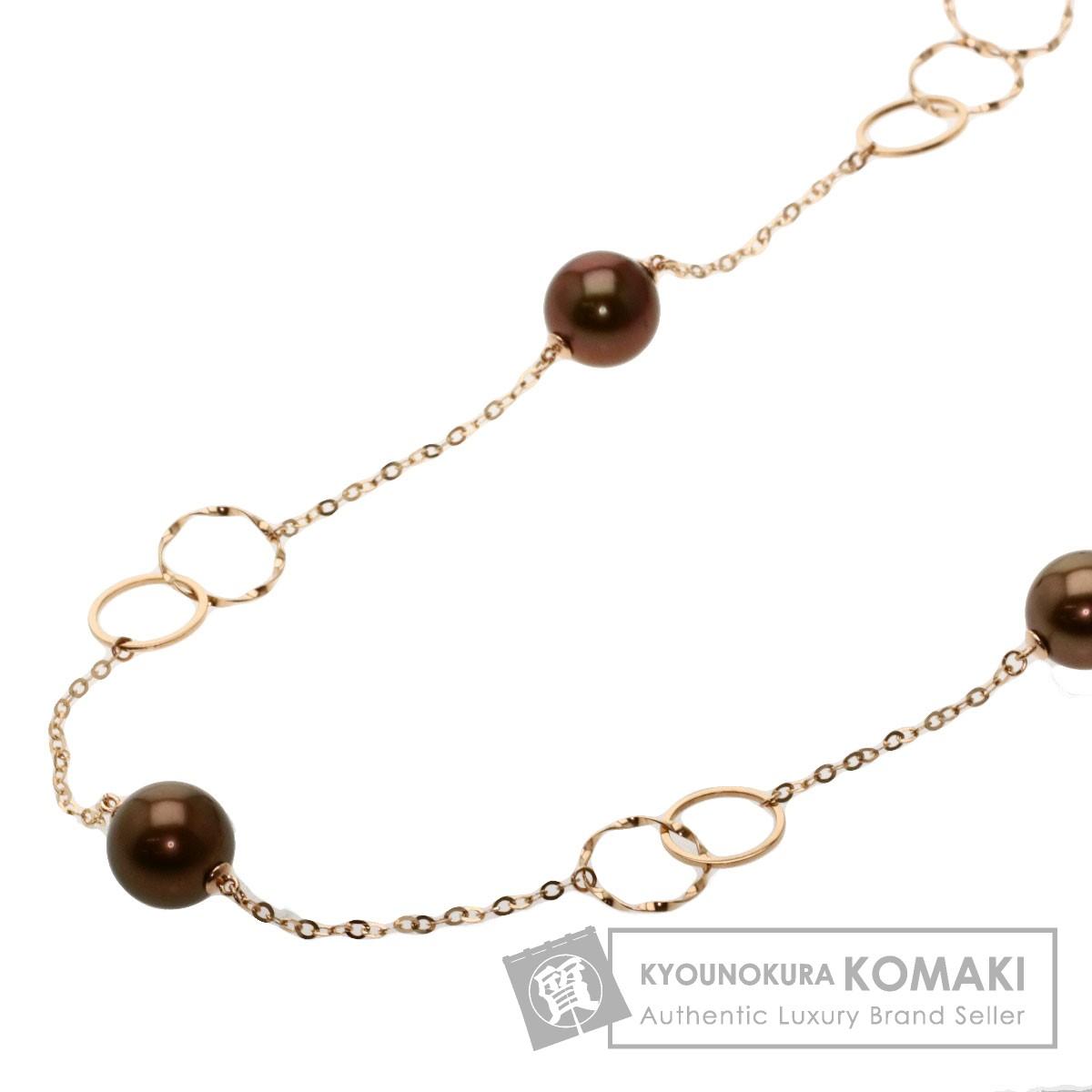 黒蝶 パール 真珠 ネックレス K10ピンクゴールド 15.5g レディース 【中古】