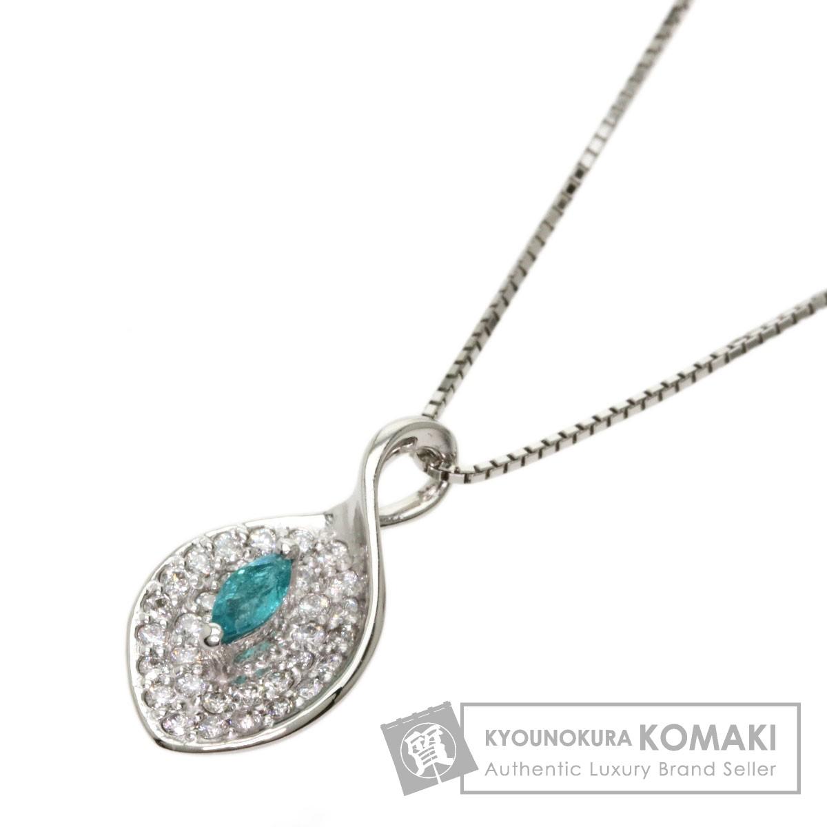 0.11ct パライバトルマリン ダイヤモンド ネックレス プラチナPT900/PT850 4.1g レディース 【中古】