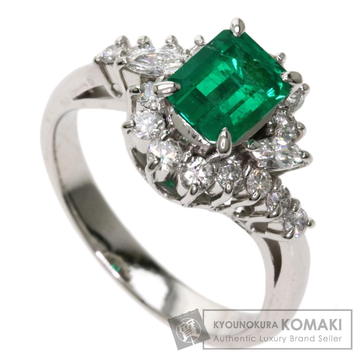 0.88ct エメラルド ダイヤモンド リング・指輪 プラチナPT900 6.7g レディース 【中古】