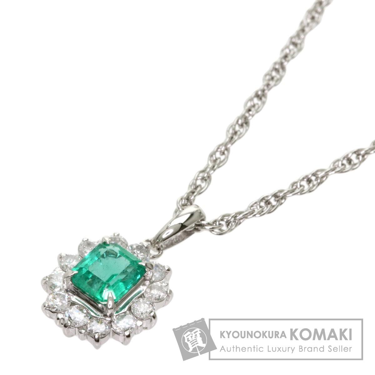 0.58ct エメラルド ダイヤモンド ネックレス プラチナPT900/ PT850 5.7g レディース 【中古】
