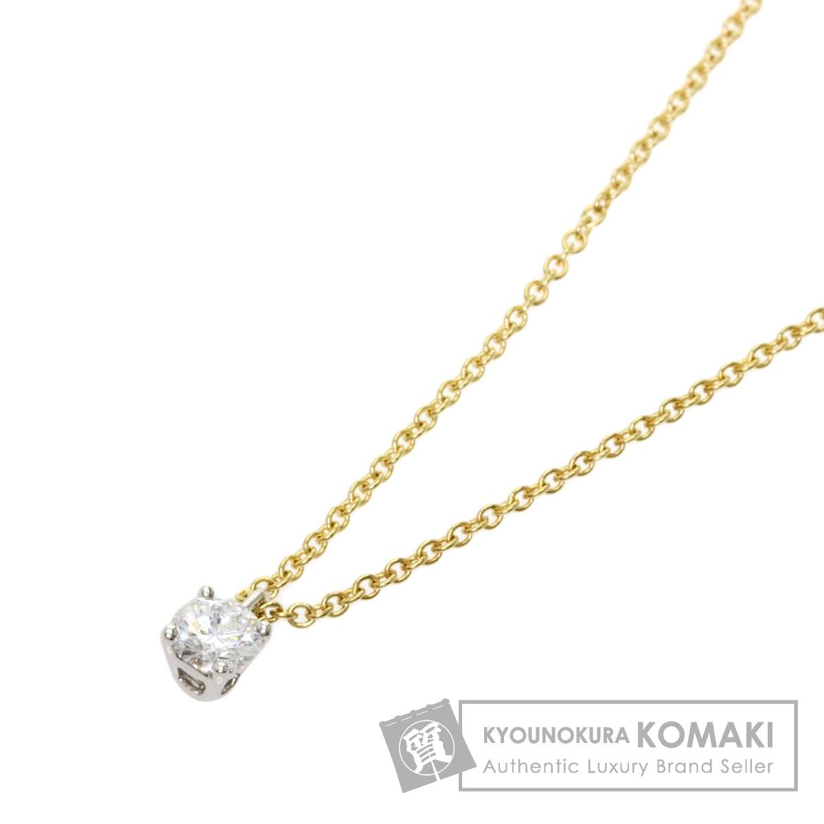 ティファニー 1P ダイヤモンド ネックレス プラチナPT950/K18YG レディース 【中古】【TIFFANY&Co.】