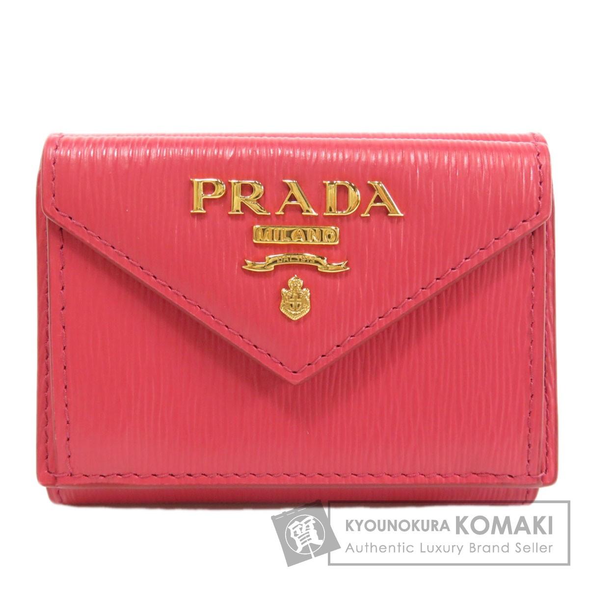 プラダ 1MH021 ヴィッテロ ムーヴ 三つ折り 二つ折り財布(小銭入れあり) レザー レディース 【中古】【PRADA】