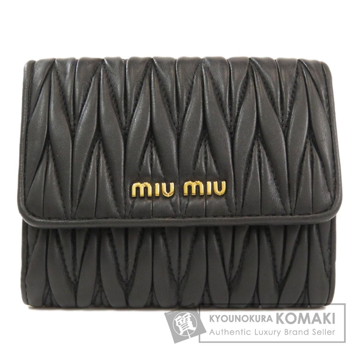ミュウミュウ 5MH523 ロゴ 二つ折り財布(小銭入れあり) カーフ レディース 【中古】【MIUMIU】