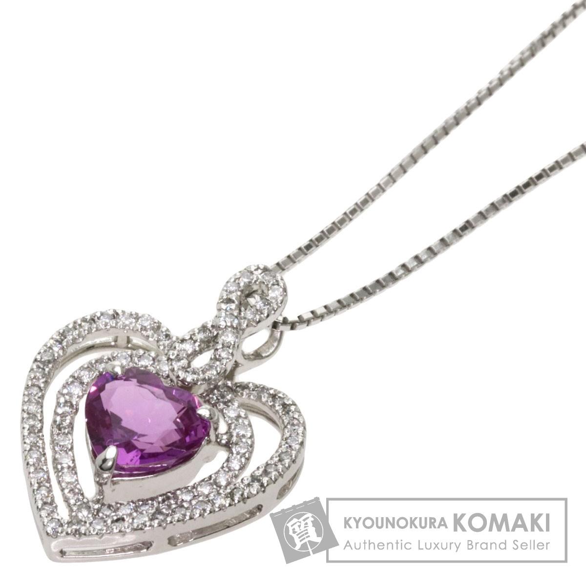 ピンクサファイア ハート ダイヤモンド ネックレス プラチナPT900/PT850 レディース 【中古】