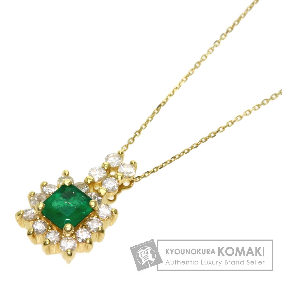 エメラルド ダイヤモンド ネックレス K18イエローゴールド レディース 【中古】