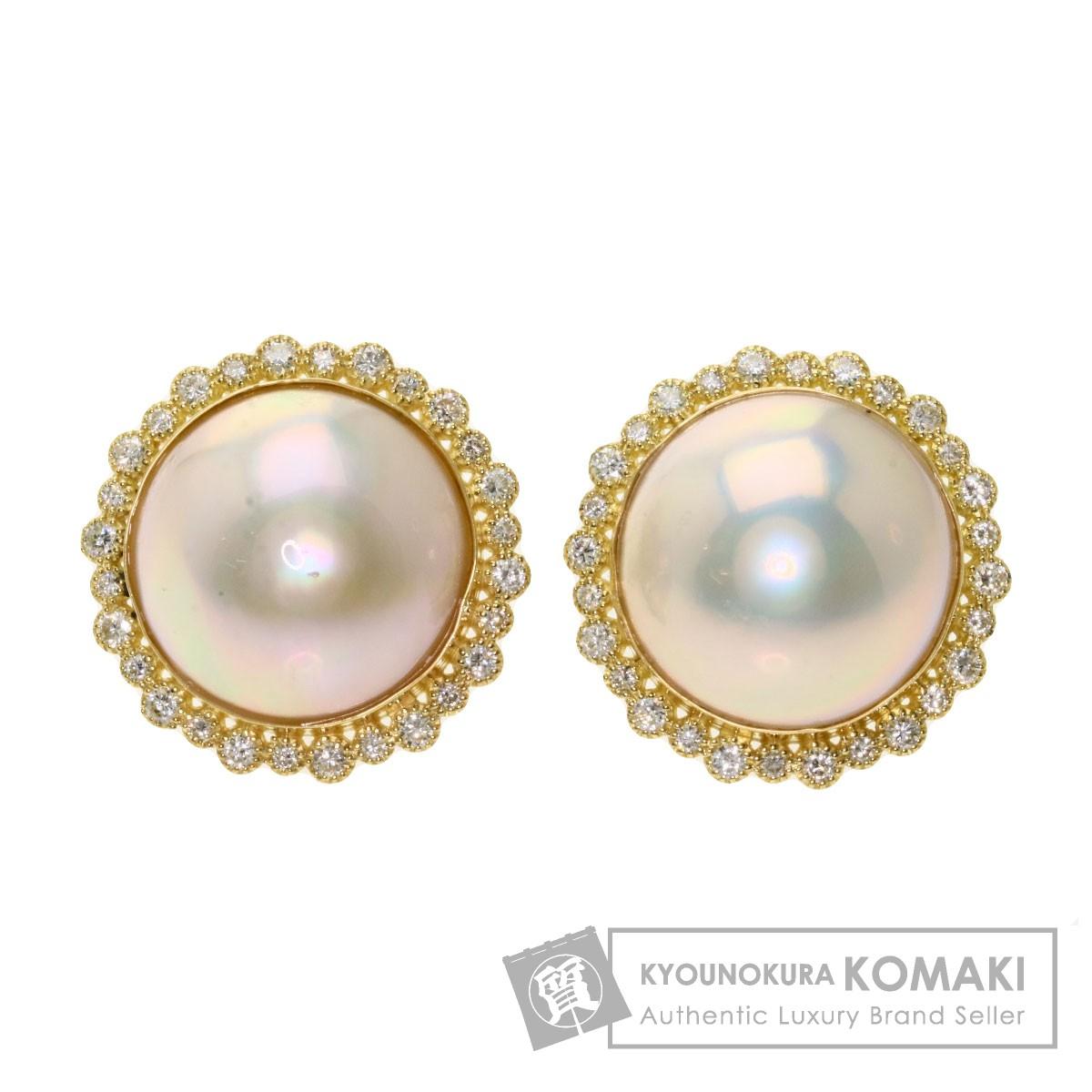 マベパール 真珠 ダイヤモンド ピアス K18イエローゴールド レディース 【中古】