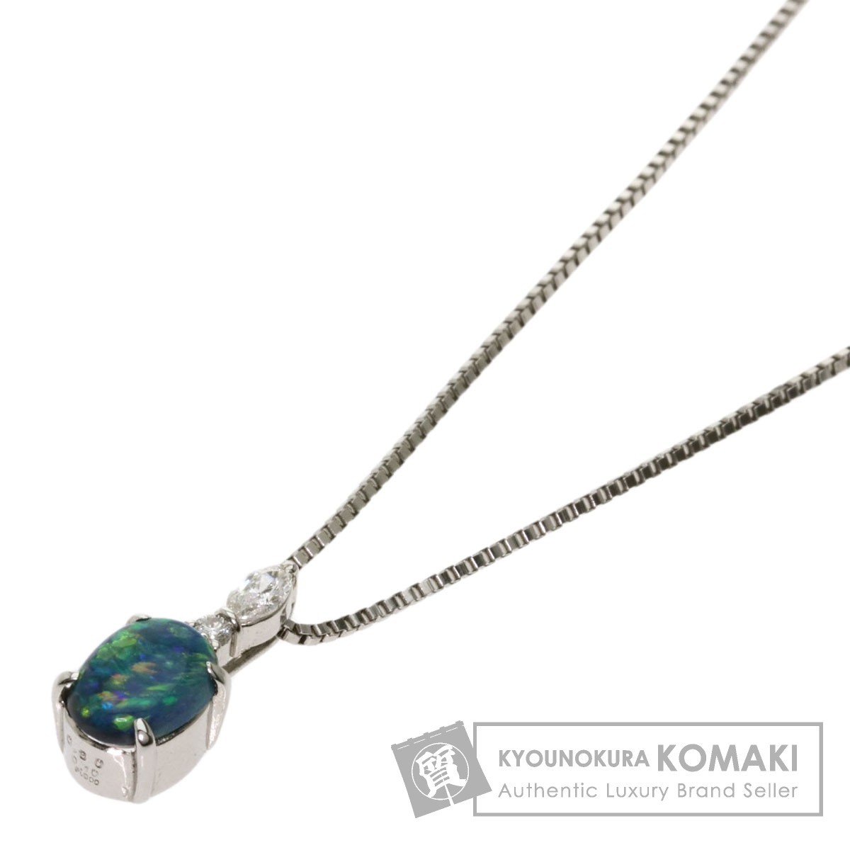 ブラックオパール ダイヤモンド ネックレス プラチナPT900/PT850 レディース 【中古】