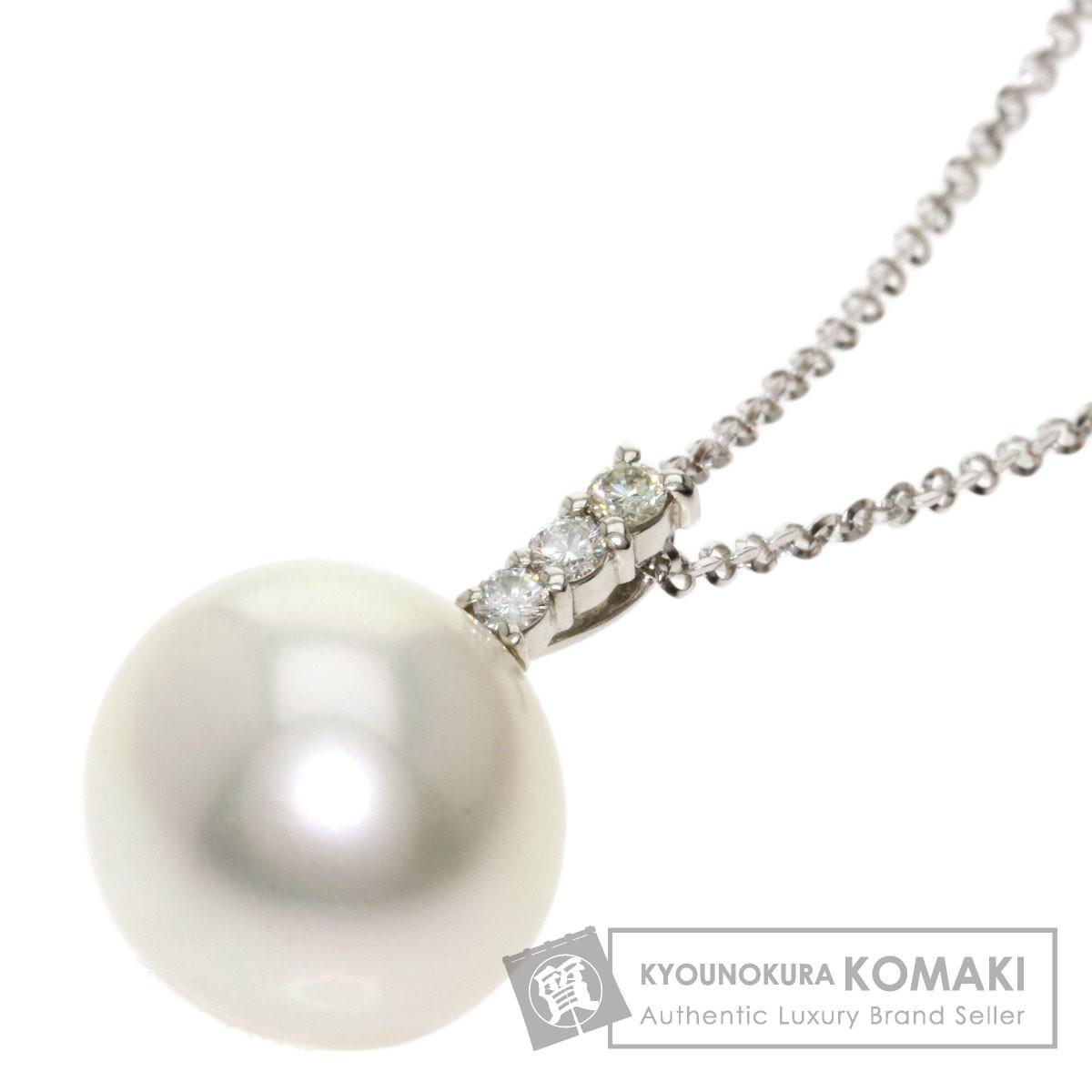 南洋パール 真珠 ダイヤモンド ネックレス K18ホワイトゴールド レディース 【中古】
