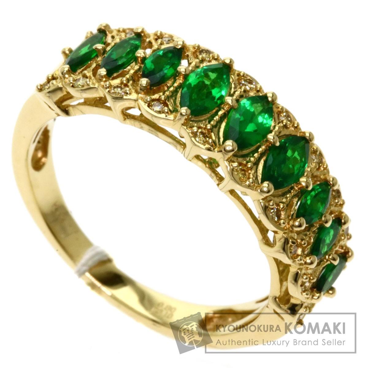 グリーンガーネット ダイヤモンド リング・指輪 K18イエローゴールド レディース 【中古】