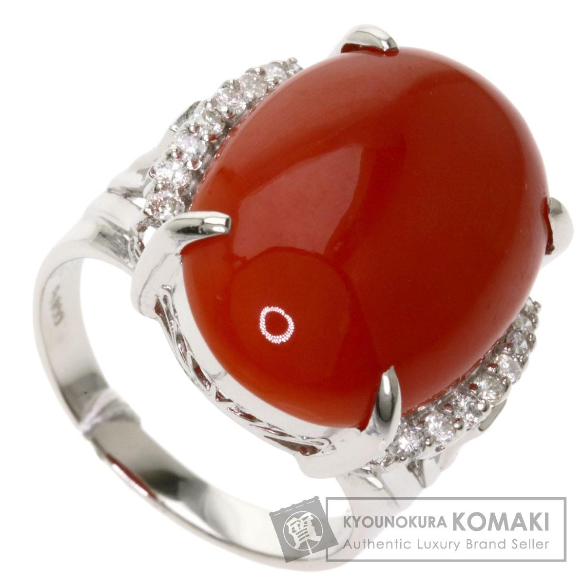 サンゴ 珊瑚 ダイヤモンド リング・指輪 プラチナPT900 レディース 【中古】