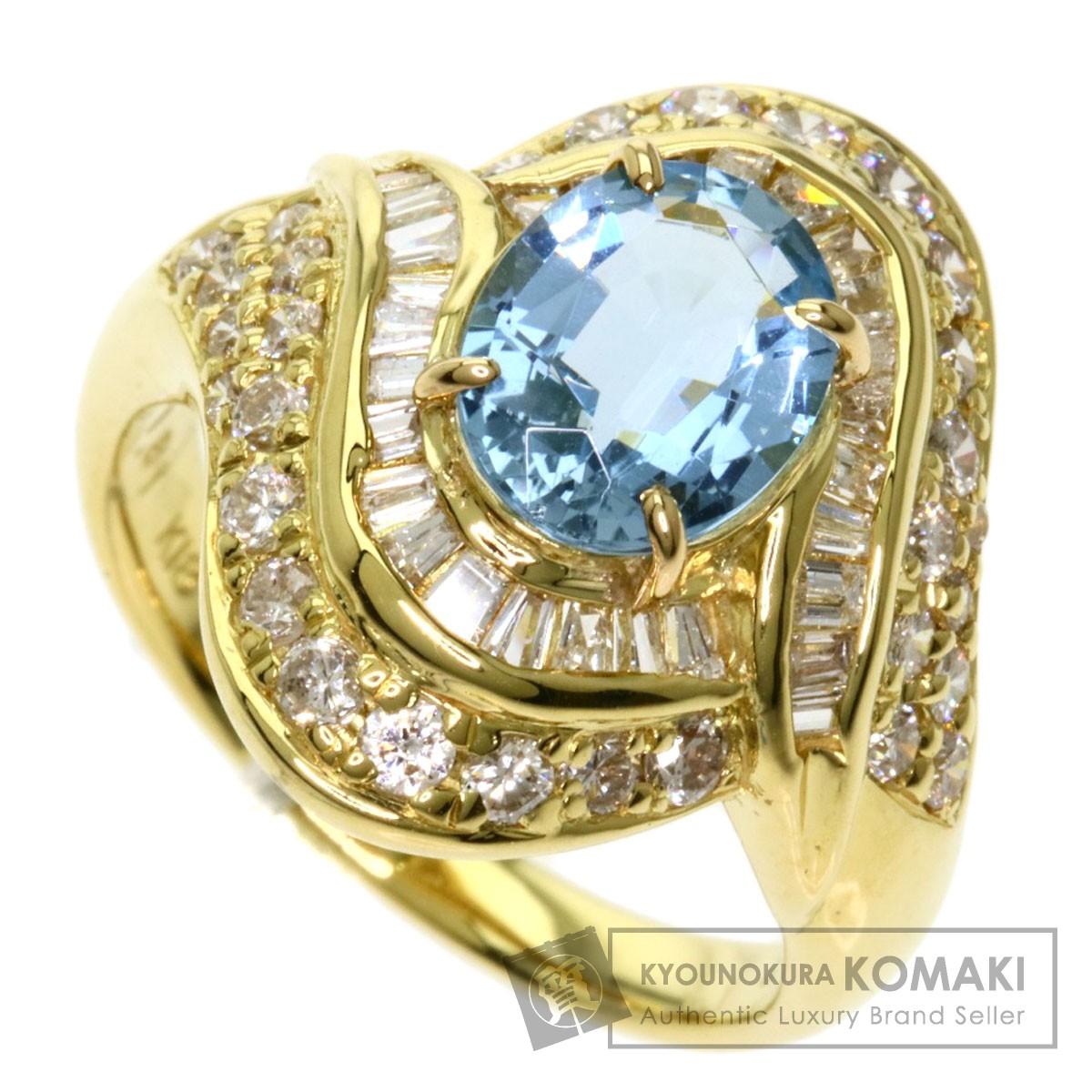 アクアマリン ダイヤモンド リング・指輪 K18イエローゴールド レディース 【中古】