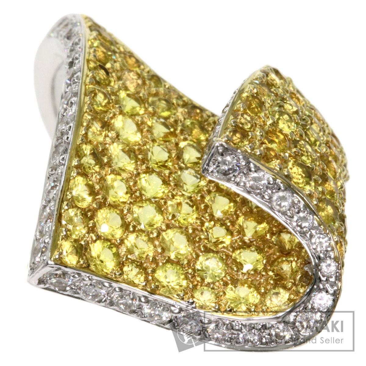 イエローサファイア ダイヤモンド リング・指輪 K18ホワイトゴールド レディース 【中古】