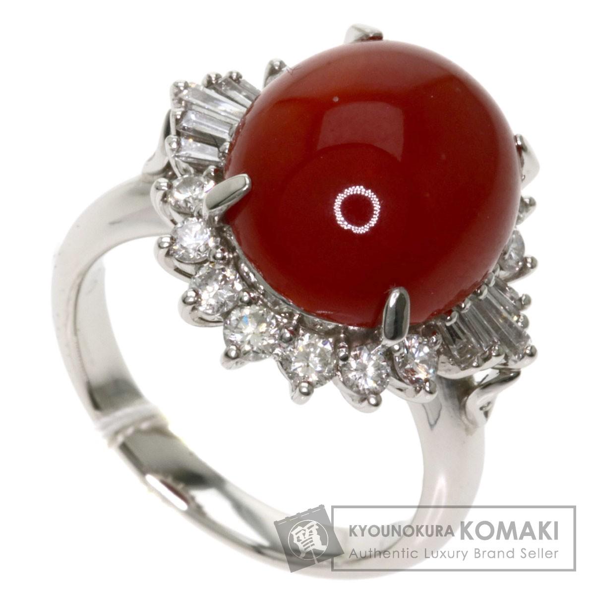 珊瑚 サンゴ ダイヤモンド リング・指輪 プラチナPT900 レディース 【中古】