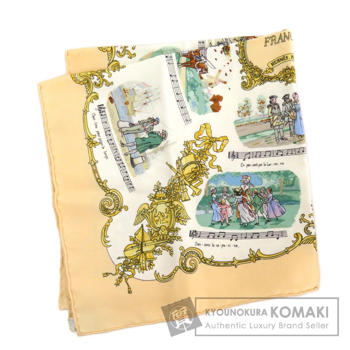 エルメス カレ45 プチカレ CHANSONS DE FRANCE スカーフ シルク レディース 【中古】【HERMES】