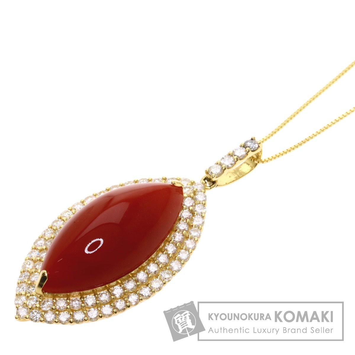 サンゴ 珊瑚 ダイヤモンド ネックレス K18イエローゴールド 10g レディース 【中古】
