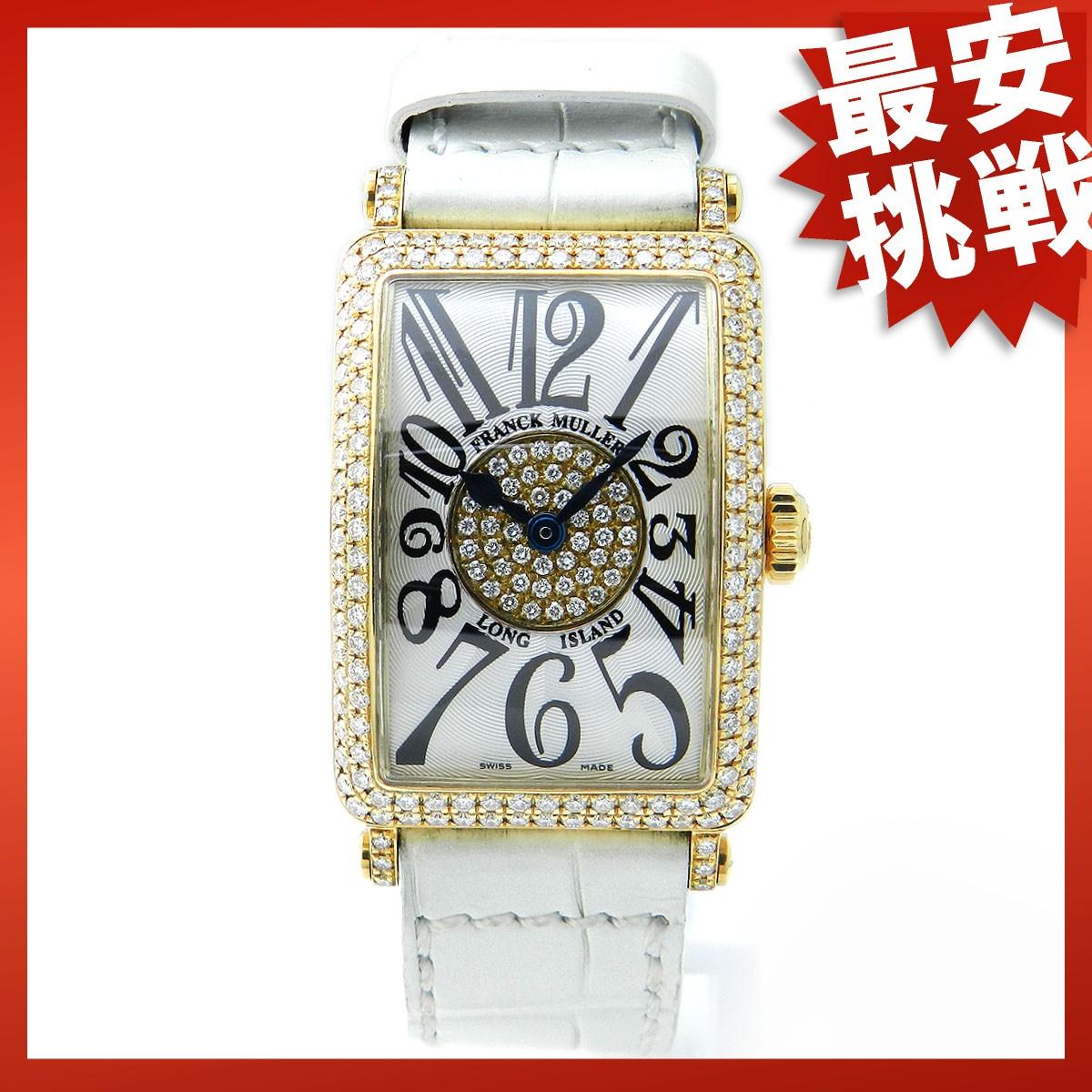 FRANCK MULLER 902QZ Long Island K18YG / leather watch
