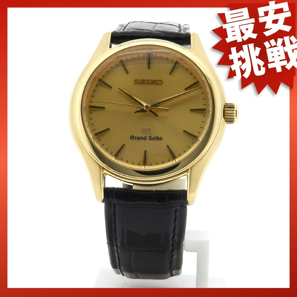 SEIKO Grand Seiko 9F61-OA30 watch black leather men's