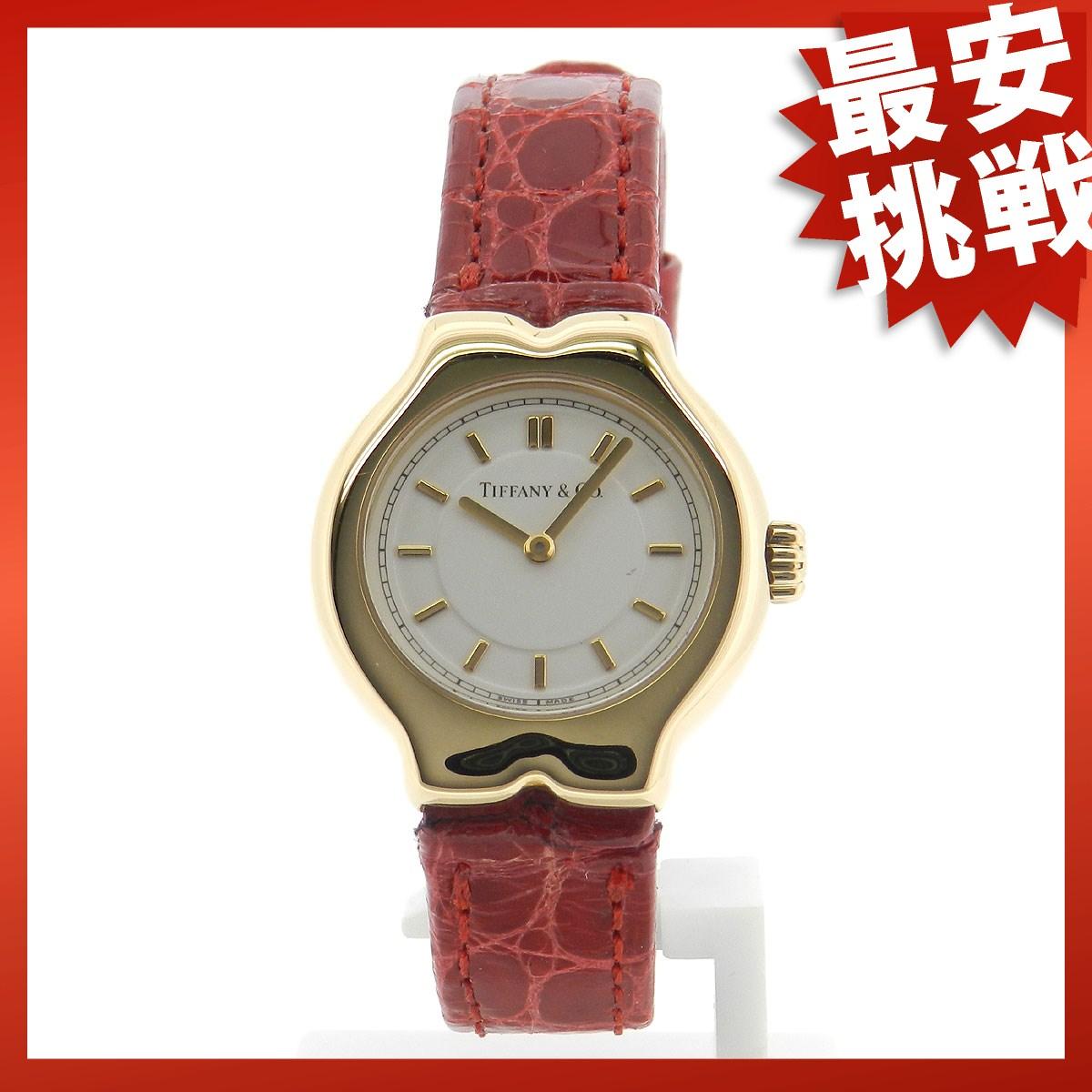 TIFFANY &Co... Tesoro watch YG Leather Womens