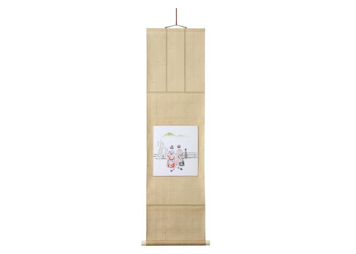 しっとりと落ち着いた風合い 京友禅金彩色紙掛軸(受注生産品 納期四十日)
