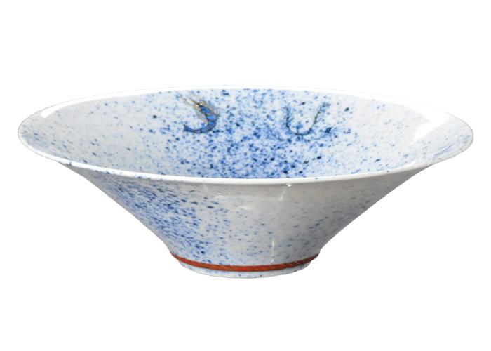 京焼・清水焼 網打つ様を水中から描いた迫力 吹き呉須海老の絵末広鉢