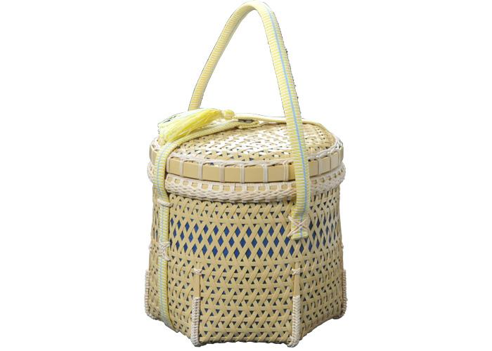 白竹を六角形に立ち上げた清爽な印象の 麻編茶籠(受注生産品 納期4ヶ月)