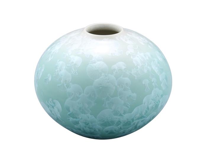 京焼・清水焼 淡緑色に白色の結晶模様が浮かぶ幽玄な花瓶 燦彩萌ギ