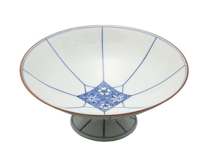 京焼・清水焼 まっ白い地肌とまっすぐに引かれた線が見事な 菊割渦雲錦台鉢(受注生産品 納期一ヶ月)