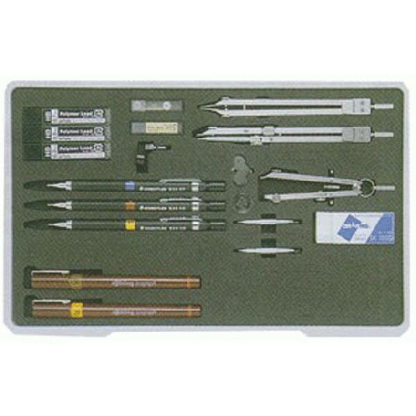 製図用品   ユニットケース独式製図器セット (11本組23品)