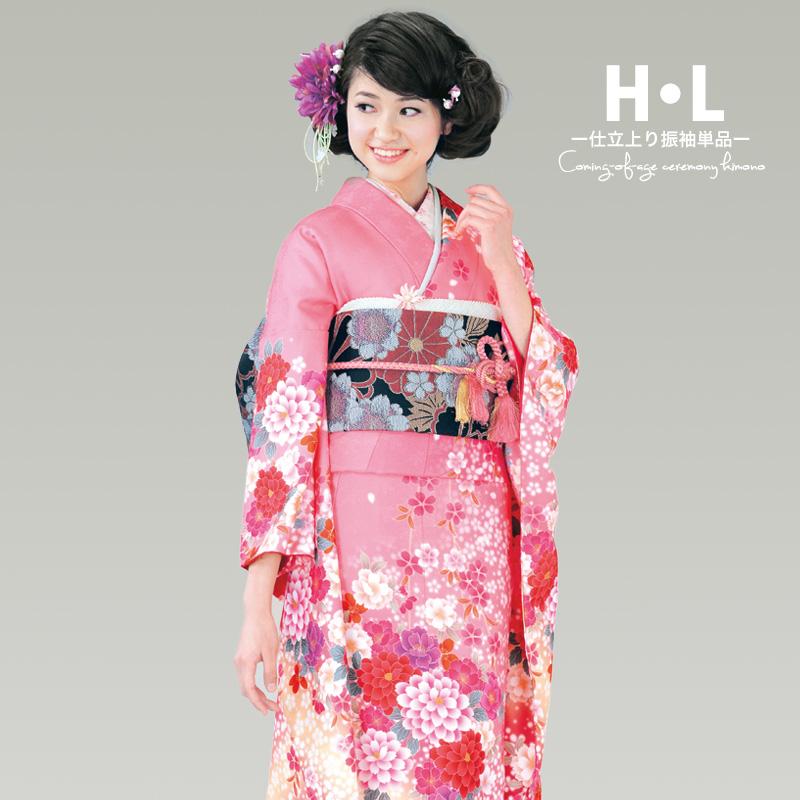 Pink kimono 2016 [HL Eva furisode kimono 03] new H-L (HL) Eva pattern Kimono only brand new washable + options (band / obiage / g / ITA collar and factional / juban / accessory set / tabi socks / underwear)