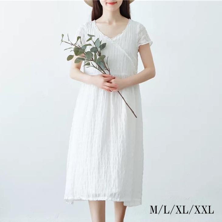 8c81fd1b3418 Loose stylish fashion plain fabric new work short-sleeved in lady s white  dress mi-mollet length dress Shin pull size grain V neck party dress summer