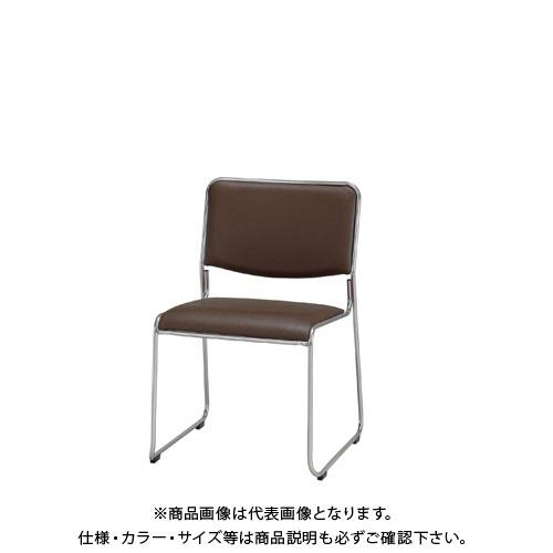 弘益 スタッキングチェア(合成皮革張)ブラウン MK-480(BR)