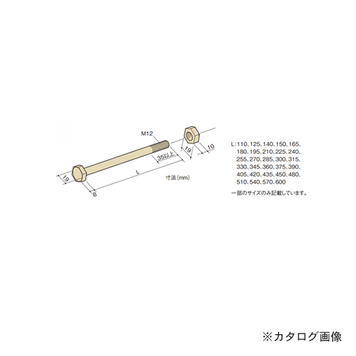 カネシン 六角ボルト (100本入) M12×255