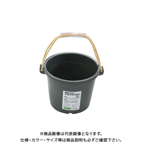 【直送品】安全興業 プラバケツEX13型 グレー 355×250×320φ (14入)