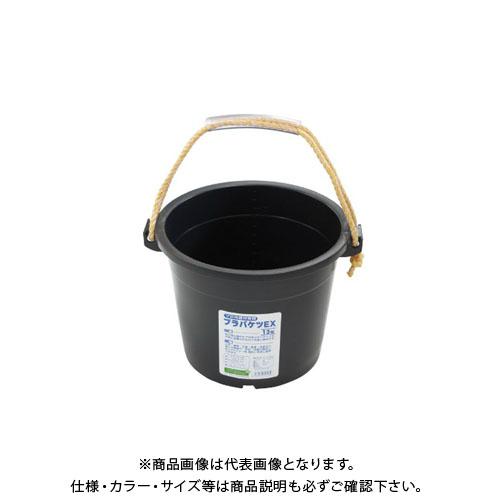 【直送品】安全興業 プラバケツEX13型 黒 355×250×320φ (14入)