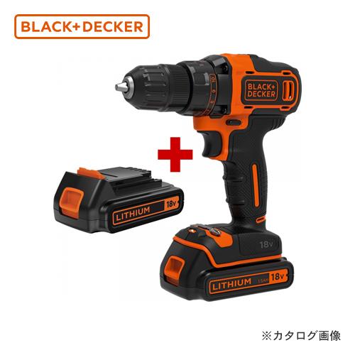 ブラックアンドデッカー 黒&DECKER BDCDD186K2-JP 18V ドリルドライバー