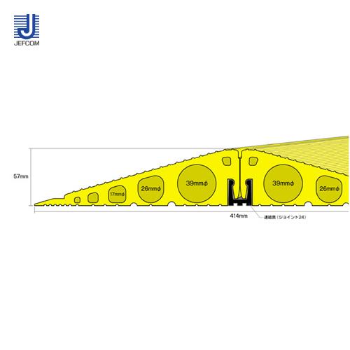 ジェフコム JEFCOM ソフトカラープロテクター 連結タイプ1m イエロー SFP-4139
