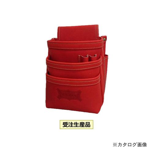 ニックス KNICKS KGR-301DD 最高級硬式グローブ革3段腰袋 レッド (受注生産品)