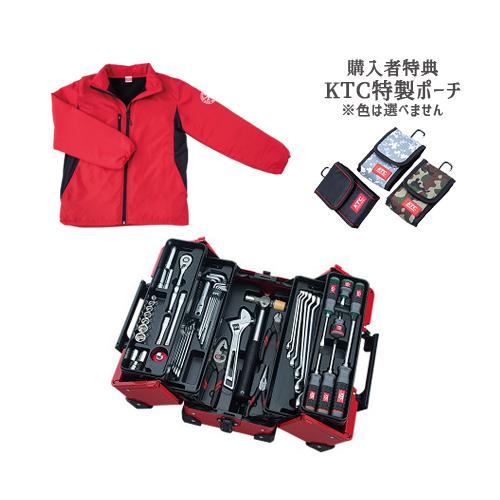 【SK SALE 2019】 KTC 工具セット(両開きメタルケースタイプ) レッド ブルゾン付 SK35719WZR