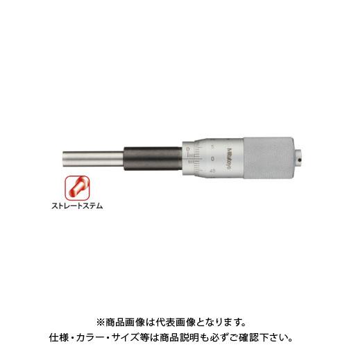 ミツトヨ Mitutoyo マイクロメーターヘッド(標準型) ストレートステム 平面 ラチェットなし (151-227) MHH1-25T