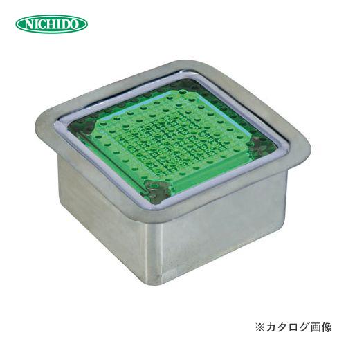【納期約2ヶ月】日動工業 ソーラーLEDタイル100 ステンレスケース正方形タイプ 緑 NFT0404G-SUS