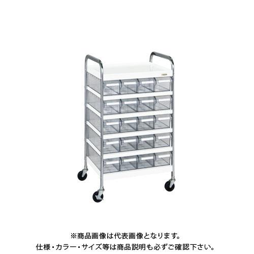 【直送品】サカエ CSワゴン透明ボックス付 CSB-20T