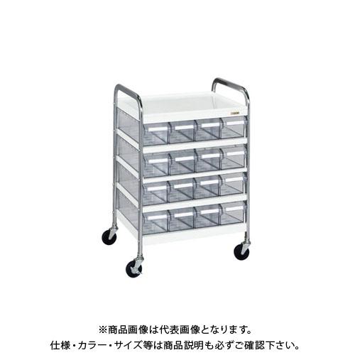 【直送品】サカエ CSワゴン透明ボックス付 CSC-16T