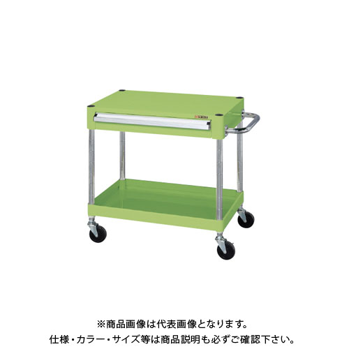【直送品】サカエ ニューCSパールワゴン(ゴム車・天板フラット・上引出し付) CSPA-756A